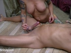 Three girls giving blowjob