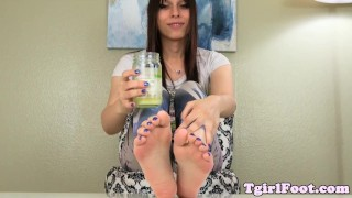 Foot fetish tgirl showing off toes and arches  tranny amateur solo soles fetish pedicure footfetish toes oil stockings shemale feetworship tgirlfoot footfetishts lotion arches
