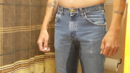 Grown man loves pissing in his jeans