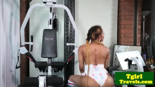 Bigbooty black tgirl twerking and jerking  masturbating booty ebony solo tattoo gym tgirl bigtits twerking exercise workout trap shemale trans franks tgirlworld tgirltravels