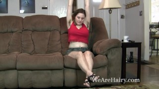 Eleanor Rose shows off her hairy body on her couch Rubbing booty
