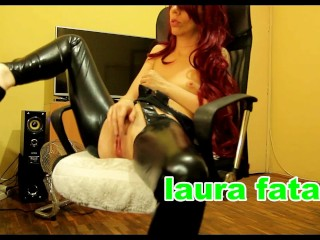Redhead In Latex Huge Squirt Masturbation While Watching Porn
