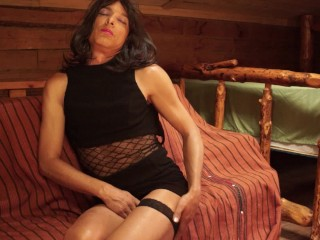Shemale Crossdressing Ladyboy Fingering Ass & Masturbating Cumshot in Dress