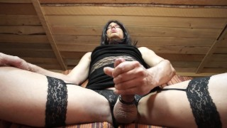 Shemale in Dress and Lingerie Talking Dirty & Masturbating Thick Cumshot