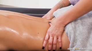 Two Lesbians Have A Hot Oil Massage, Followed By Scissoring - Brazzers Adult lezdom