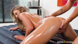 Two Lesbians Have A Hot Oil Massage, Followed By Scissoring - Brazzers