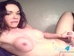 Gorgeous TGirl Claudia Silver Seductively Strokes Her Big Cock