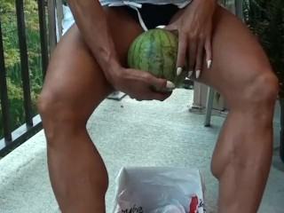 Muscle Goddess Latia Del Riviero Crushes Melon @ clips4sale/studio/42900