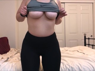 Preview of Teasing in my Lululemon Pants, teasing in my panties, and orgasm