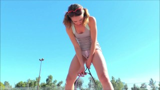Aurora flashes in public and fucks her tennis racket - FTVGirls.com  bizarre insertion crotchless panties public flashing outside flashing hd upskirt a cup young teenager construction site tennis tennis racket ftvgirls tennis skirt