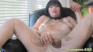Lingerie bigtitted tgirl cock her tugging solo lingerie