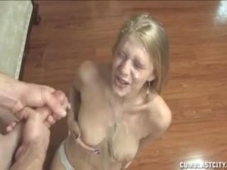 Blonde babe topless handjob