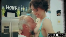 Young Busty Teen Takes Facial Cumshot From Grandpa In Old Young After Sex