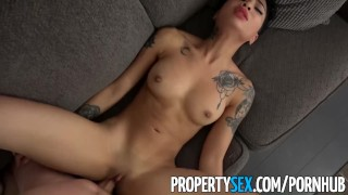 Landlord cheats boyfriend propertysex with hot tenant dj on blowjob cock