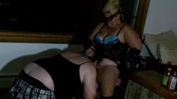 Sexy BBW Cuckholds Sissy Slut with Big Dildo