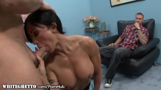 Jewels Jade on Hard Cock as Hubby Watches raven milf big tits blowjob riding cougar shaved big boobs cumshot mother deepthroat open mouth cumshot whiteghetto reverse cowgirl tattoos cowgirl cuckold fake tits