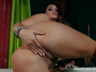 Brunette bombshell Alison Tyler fingers herself