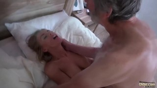 Old Man Fucked Young Blonde Teen Blowjob Doggystyle and Cumshot on body Ass creampie