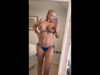 Showing off my sexy blue metallic bikini