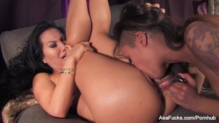 Amazing pornstars Asa Akira and Skin Diamond get it on  high heels lingerie babe ebony black asian puba asaakira small tits skinny piercing brunette small boobs pornstar tattoo toys hardcore japanese lesbian girl on girl