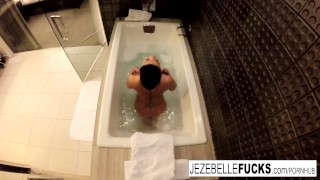 Jezebelle Bond films herself taking a bath