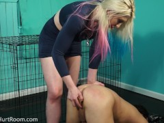Leya Falcon Treats slave like a dog inside The Hurt Room
