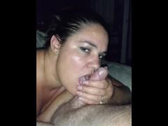 Draining husband's balls giving sensual blowjob