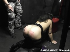Sex slave wife tied up and gangbanged by 12 guys
