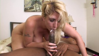 Big tit blonde cougar gets anal from big black cock