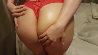 SEXY BOOTY POV ASSJOB, OILED BIG ASS IN RED THONG GRINDS AND SHAKES ON COCK Hand glasses