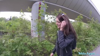 Public Agent Cowgirl riding in outdoors fuck