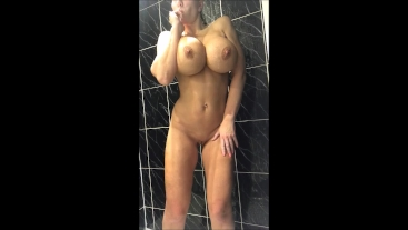 Shower time come and soap my 34JJ tits and big round ass up