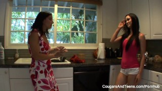 Lesbian MILF and her stepdaughter pleasure one another