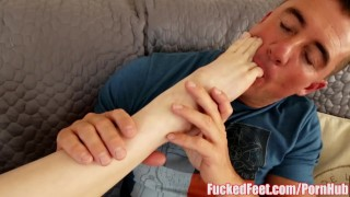Cute Teen Pepper Hart Gives First Footjob for FuckedFeet!