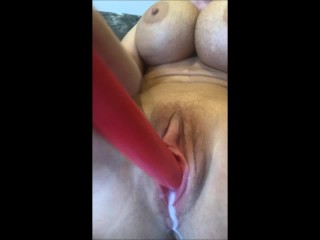 Watch my pussy juices dripping out as I fuck myself