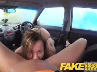 Fake Driving School New driver gets a crash course in strap on lesbian fuck