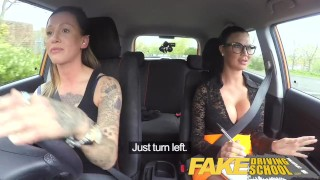 Fake Driving School New driver gets a crash course in strap on lesbian fuck Play redhead