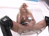 Busty Britney Amber pleasures her pussy on a chair
