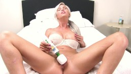 Busty Blonde Babe Squirts and Gets Soaking Wet using a Vibrator