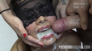 Premium Bukkake Victoria swallows 81 huge mouthful cum loads