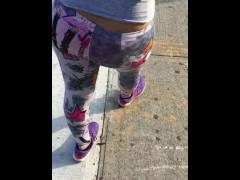 See through design leggings pink panties in public