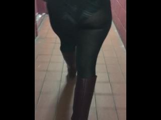 Transparent leggings in public pattern panties