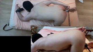 Hard spanking, flogging, paddle, huge butt plug punishment for hairy daddy Big nipples