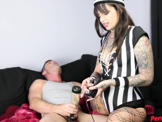 Leigh Raven Femdom Referee w Lance Hart FACE SITTING CUM DRAINING