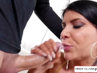 Watch Romi Rain strip down and suck a your giant cock