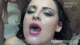 Premium Bukkake – Lola swallows 51 huge mouthful cum loads