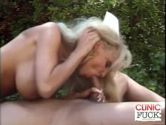 Busty Nurse Cock Sucking By The Pool
