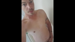 Male pee play in the shower!