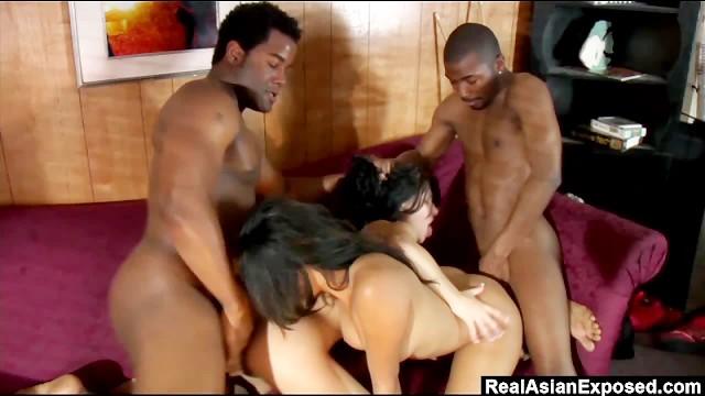 Realasianexposed three black cocks for a pair of horny sluts 3