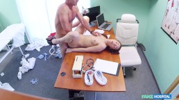 Russian babe with amazing slim body gets fucked in doctor's offices